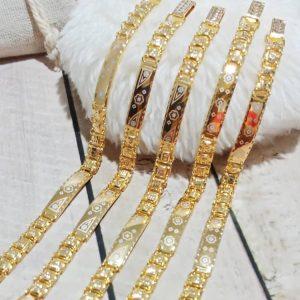 Gelang tangan rantai kripik emas