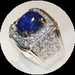 Cincin perak batu blue saphire